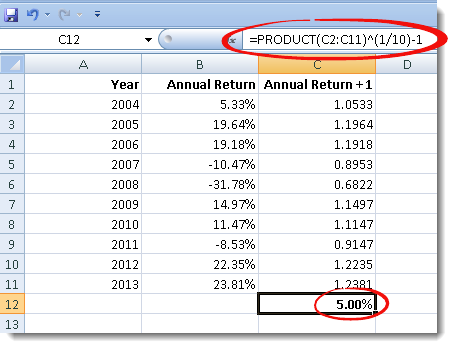Excel-Annualized-Return